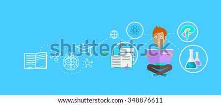 Man learning ability concept design. Strategy education, development business skill, solution work, success learn, motivation teaching, training and illustration. Raster version - stock photo