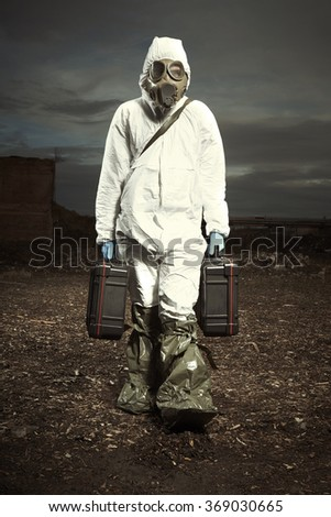 Man leaving location of radiation fallout with samples