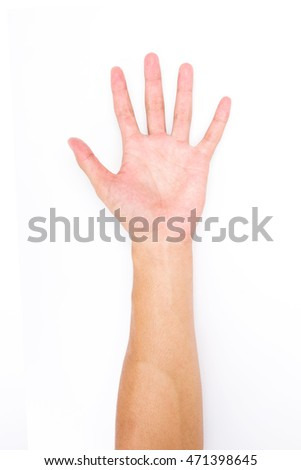Man Left hand showing the five fingers, Hand held up and fingers outstretched isolated on white background