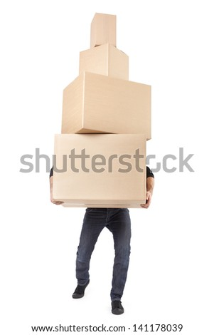 Man lifting cardboard boxes on white with clipping path - stock photo