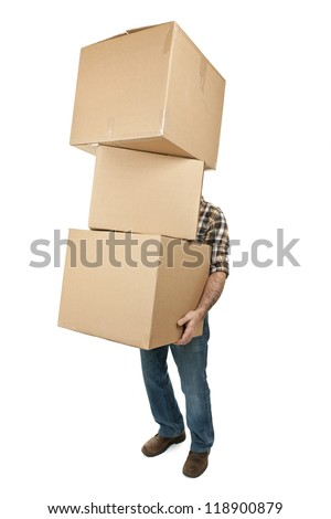 Man lifting stack of cardboard moving boxes isolated on white - stock photo