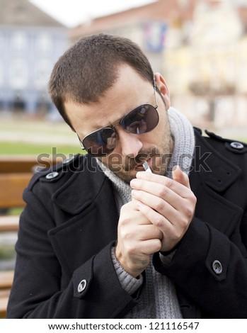 Man lighting a cigarette  sc 1 st  Shutterstock & Man Lighting Cigarette Stock Photo 121116547 - Shutterstock azcodes.com