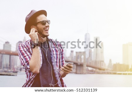 Man listening music in Brooklyn, New York