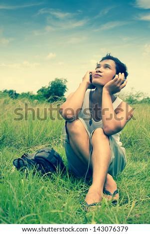 Man Listening To Music Series,Gay Sensation,Dramatic Look - stock photo