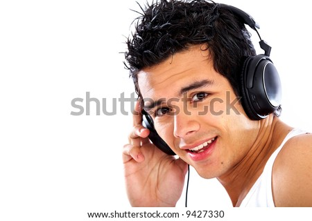 man listening to music smiling and looking happy isolated over a white background