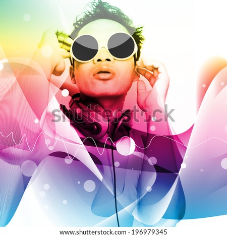 Man Listening To Music,With Colorful Background Design,For Card Or Wallpaper,Party ,Music Invitation Card Design - stock photo