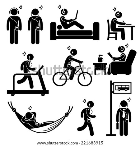 Man Listening to Music with Earphone Headphone Stick Figure Pictogram Icons - stock photo