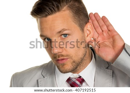 man listens to - stock photo