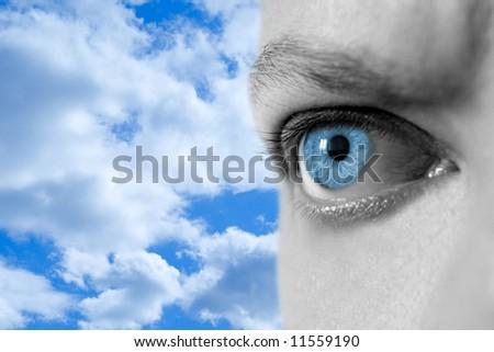 man look in blue sky - stock photo