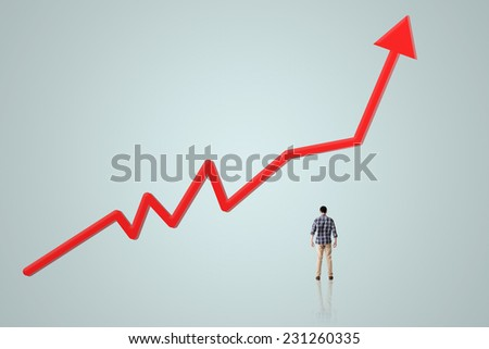 Man look the upward arrow, concept of growth, increase. - stock photo