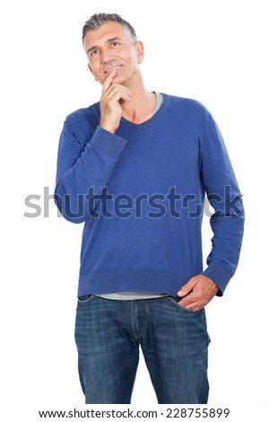 man look up and think - stock photo