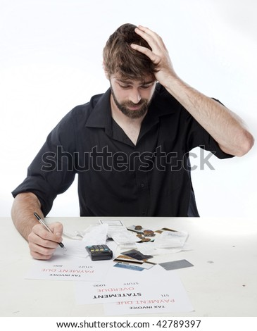 Man looking anxious about his financial situation - stock photo