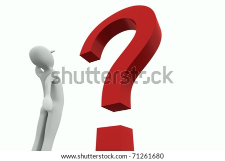 Man looking at a big red question mark on a white background