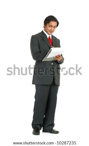 man looking at a folder over a white background - stock photo