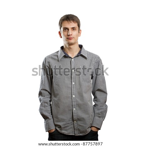 man looking at camera against different backgrounds - stock photo