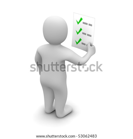 Man looking at checklist. 3d rendered illustration. - stock photo