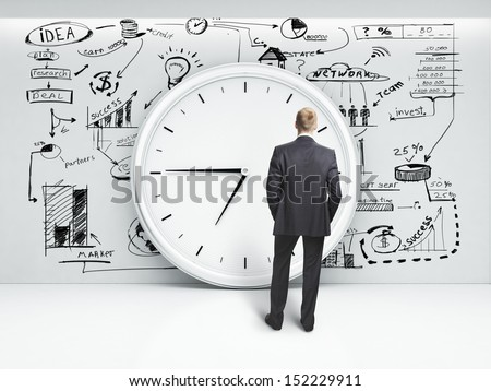 man looking at clock and business strategy on a wall - stock photo