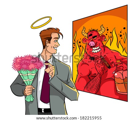 Man looking at mirror. Half devil half angel  - stock photo