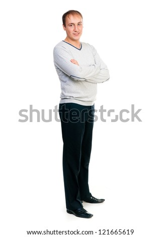 man looking at the camera on a white background - stock photo