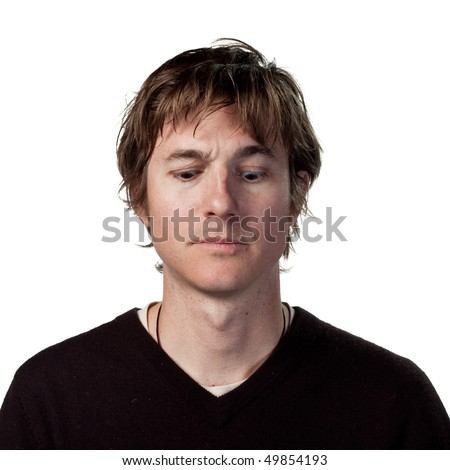 Man looking at the ground - stock photo