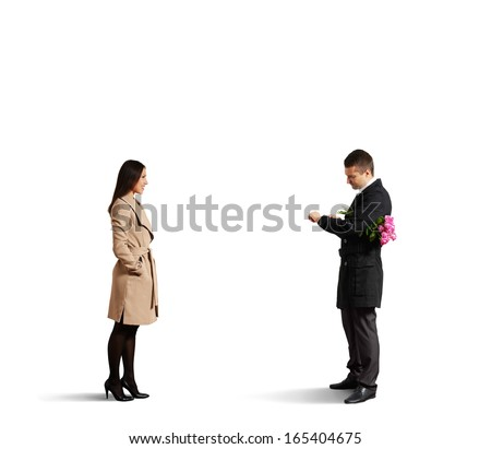 man looking at watch and waiting girlfriend