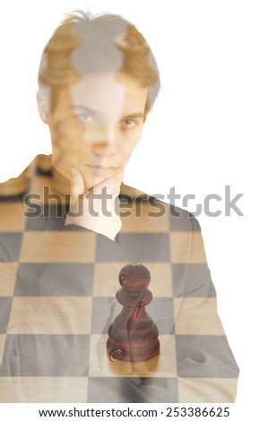 Man looking at wooden chess board, double exposure effect - stock photo