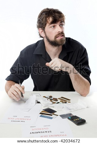 Man looking depressed about his financial situation