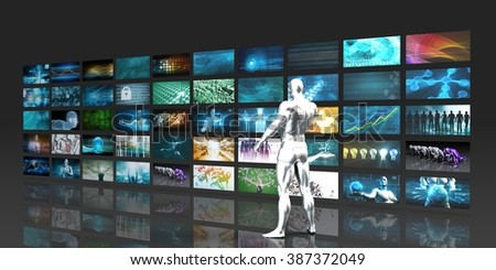 Man Looking into Video Wall Screens in 3d - stock photo