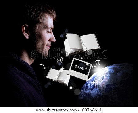 Man looking peacefully over Earth through knowledge, science, education and technology
