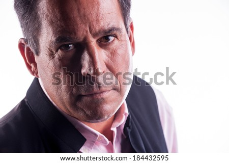man looking serious or angry - stock photo