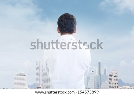 Man Looking To The Future Concept - stock photo