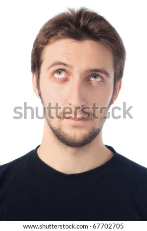 man looking up - stock photo