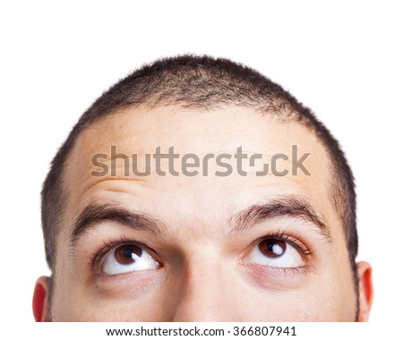 Man looking up on a white background