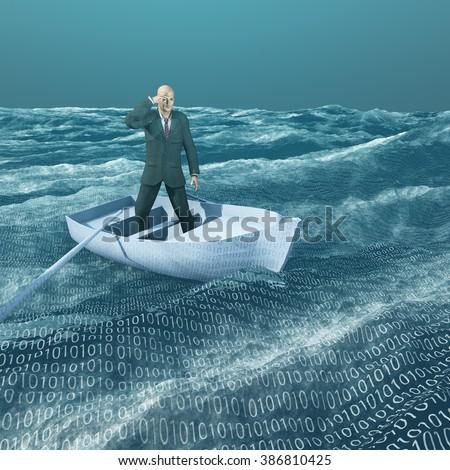 Man lost in binary sea - stock photo