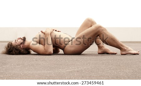 Man lying  - stock photo