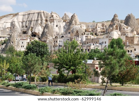 Man-made geological features of Cappadocia, pigeon valley, central Turkey
