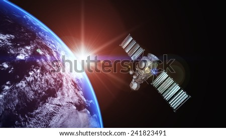 man-made satellite - stock photo