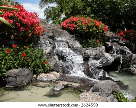 man made water fountain at Waikiki beach Oahu, Honolulu Hawaii - stock photo