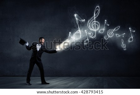 Man magician with cylinder hat - stock photo