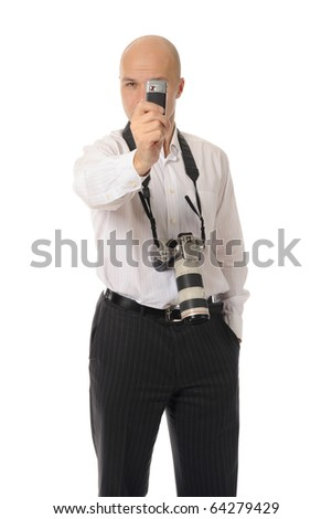man makes the photo on his phone. Isolated on white background - stock photo