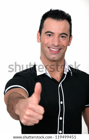 man making a thumbs up sign - stock photo