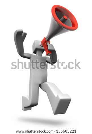 Man making announcing excited news 3d man illustration - stock photo