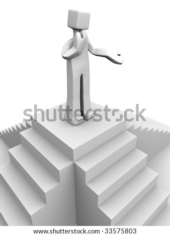 man making decision to go down which stair 3d illustration - stock photo