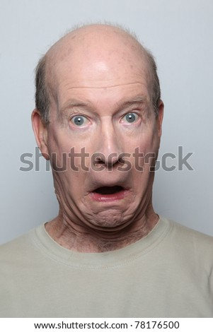 Man making surprised funny face