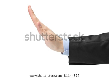 Man making the stop hand sign isolated on white background - stock photo