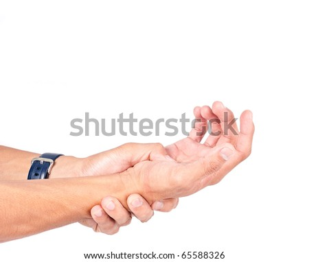 Man Massaging His Arthritis Pains - stock photo