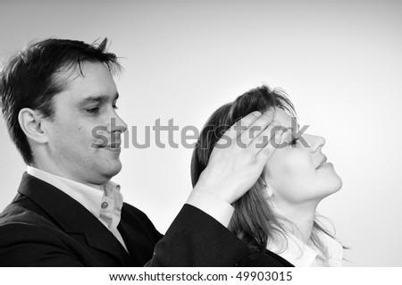 man massaging human face - stock photo