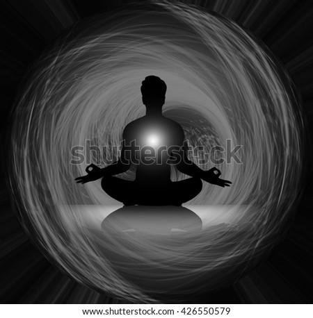 man meditate dark black abstract background, yoga. ray. beam. Buddhist meditation, Hindu meditation. - stock photo