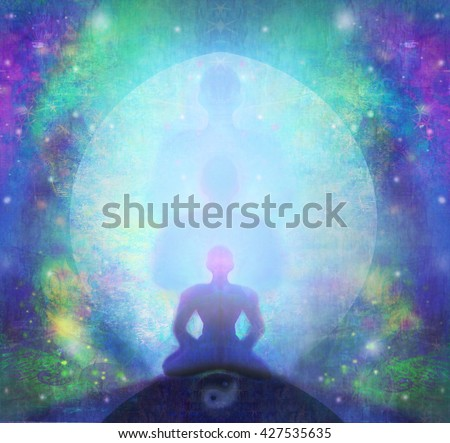 man meditate, yoga. - stock photo