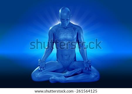 man meditating - stock photo